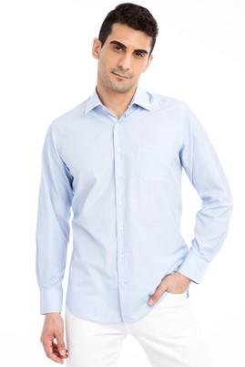 Erkek Giyim - Açık Mavi 4X Beden Uzun Kol Çizgili Klasik Gömlek