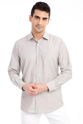 Erkek Giyim - Bej L Beden Uzun Kol Çizgili Klasik Gömlek