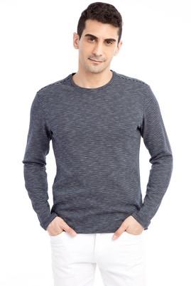 Erkek Giyim - Lacivert XXL Beden Bisiklet Yaka Çizgili Sweatshirt