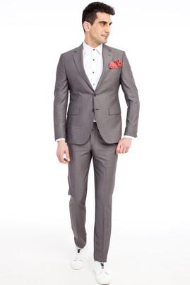 Erkek Giyim - Kahve 50 Beden Slim Fit Kuşgözü Takım Elbise
