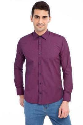Erkek Giyim - Bordo M Beden Uzun Kol Desenli Slim Fit Gömlek