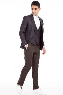 Erkek Giyim - Kahve 50 Beden Yelekli Kombinli Ekose Takım Elbise