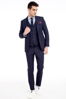 Erkek Giyim - Lacivert 46 Beden Slim Fit Yelekli Kuşgözü Takım Elbise