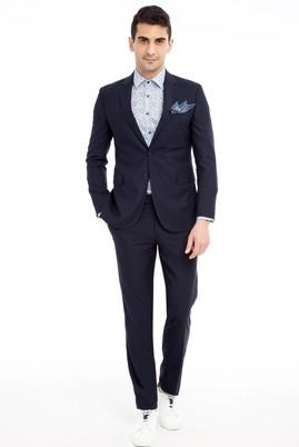 Erkek Giyim - Lacivert 50 Beden Slim Fit Klasik Takım Elbise