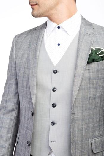 Erkek Giyim - Yelekli Kombinli Ekose Takım Elbise
