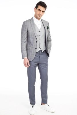 Erkek Giyim - Açık Gri 52 Beden Yelekli Kombinli Ekose Takım Elbise
