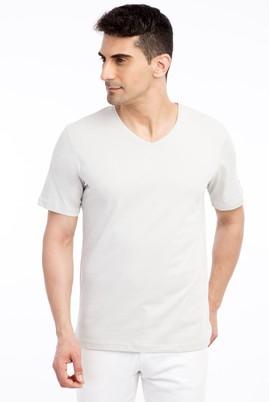 Erkek Giyim - Kum L Beden V Yaka Nakışlı Regular Fit Tişört