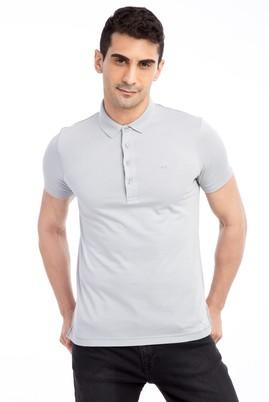 Erkek Giyim - Açık Gri M Beden Polo Yaka Slim Fit Tişört