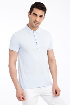 Erkek Giyim - Mavi L Beden Polo Yaka Slim Fit Tişört