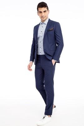Erkek Giyim - Mavi 44 Beden Süper Slim Fit Klasik Takım Elbise