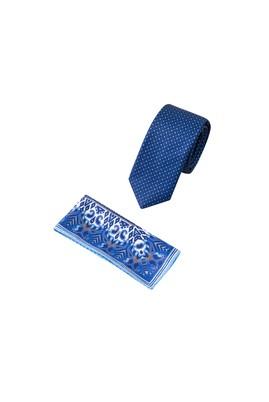 Erkek Giyim - KOYU MAVİ 65 Beden 2'li Kravat Mendil Set