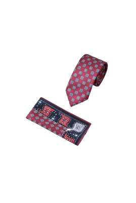 Erkek Giyim - Bordo 65 Beden 2'li Kravat Mendil Set