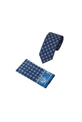 Erkek Giyim - Lacivert 65 Beden 2'li Kravat Mendil Set