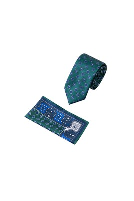 Erkek Giyim - KOYU YESİL 65 Beden 2'li Kravat Mendil Set