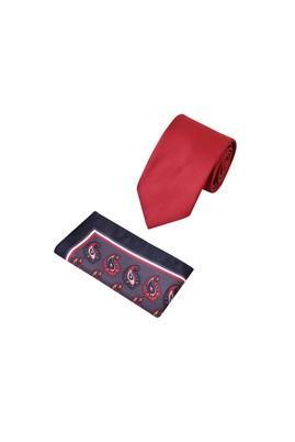 Erkek Giyim - Kırmızı  Beden 2'li Kravat Mendil Set