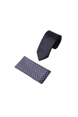 Erkek Giyim - Siyah 65 Beden 2'li Kravat Mendil Set
