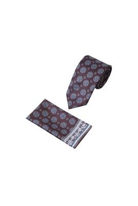 Erkek Giyim - Kahve  Beden 2'li Kravat Mendil Set