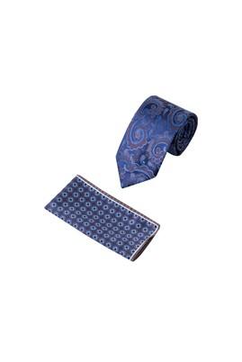 Erkek Giyim - Mavi  Beden 2'li Kravat Mendil Set
