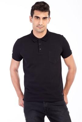 Erkek Giyim - Siyah 3X Beden Polo Yaka Regular Fit Tişört