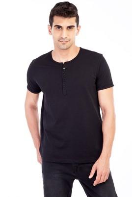 Erkek Giyim - Siyah L Beden Bisiklet Yaka Düğmeli Regular Fit Tişört