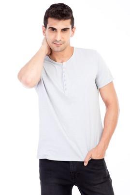Erkek Giyim - Açık Gri L Beden Bisiklet Yaka Düğmeli Regular Fit Tişört