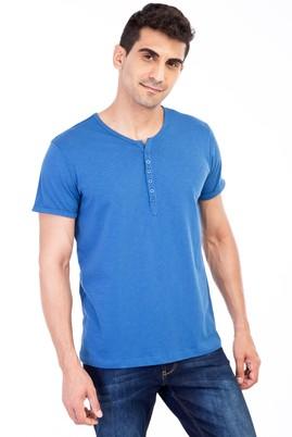 Erkek Giyim - Mavi XL Beden Bisiklet Yaka Düğmeli Regular Fit Tişört