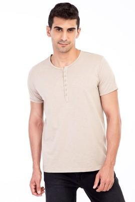 Erkek Giyim - Bej 3X Beden Bisiklet Yaka Düğmeli Regular Fit Tişört