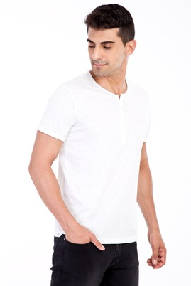 Erkek Giyim - Beyaz 3X Beden Bisiklet Yaka Düğmeli Regular Fit Tişört