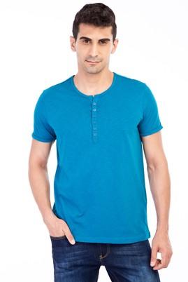 Erkek Giyim - Petrol M Beden Bisiklet Yaka Düğmeli Regular Fit Tişört