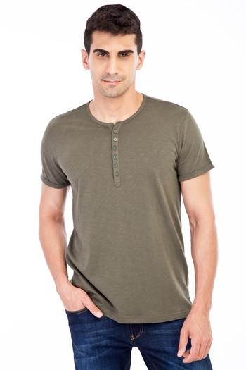 Erkek Giyim - Bisiklet Yaka Düğmeli Regular Fit Tişört