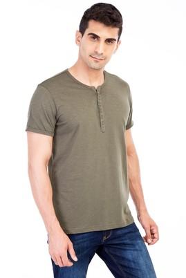 Erkek Giyim - HAKİ L Beden Bisiklet Yaka Düğmeli Regular Fit Tişört