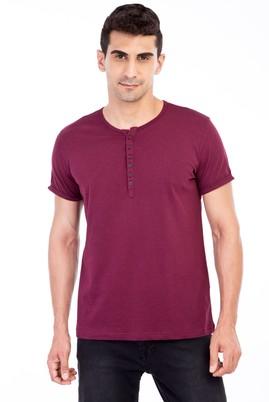Erkek Giyim - Bordo M Beden Bisiklet Yaka Düğmeli Regular Fit Tişört