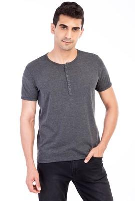 Erkek Giyim - Antrasit XXL Beden Bisiklet Yaka Düğmeli Regular Fit Tişört