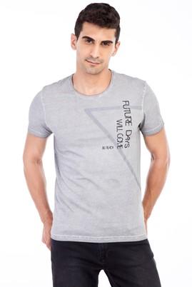 Erkek Giyim - Orta füme L Beden Bisiklet Yaka Baskılı Slim Fit Tişört