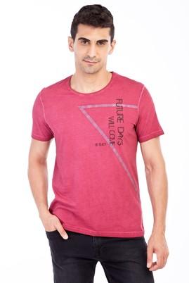 Erkek Giyim - Bordo L Beden Bisiklet Yaka Baskılı Slim Fit Tişört