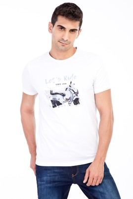 Erkek Giyim - Beyaz XXL Beden Bisiklet Yaka Baskılı Slim Fit Tişört