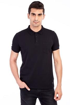 Erkek Giyim - Siyah L Beden Polo Yaka Klasik Regular Fit Tişört