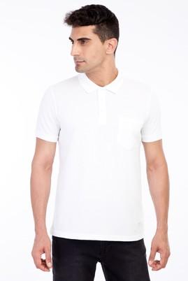 Erkek Giyim - Beyaz L Beden Polo Yaka Klasik Regular Fit Tişört