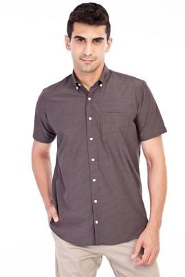 Erkek Giyim - Lacivert M Beden Kısa Kol Ekose Spor Gömlek