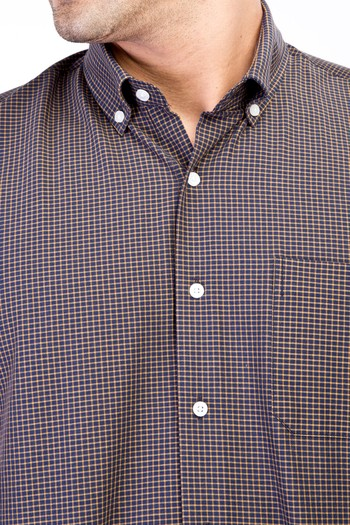 Erkek Giyim - Kısa Kol Regular Fit Ekose Spor Gömlek