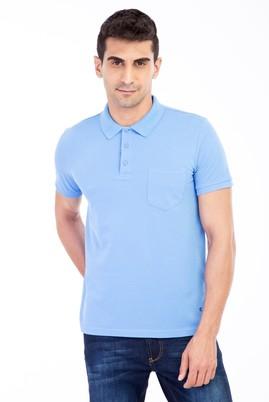 Erkek Giyim - Mavi L Beden Polo Yaka Klasik Regular Fit Tişört