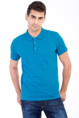 Erkek Giyim - Petrol L Beden Polo Yaka Klasik Regular Fit Tişört