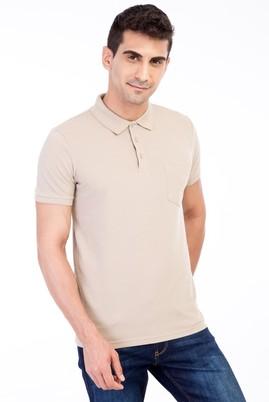 Erkek Giyim - Bej L Beden Polo Yaka Klasik Regular Fit Tişört