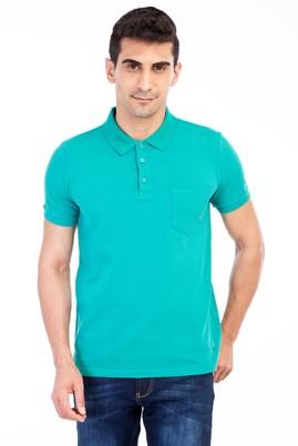 Erkek Giyim - Acık Yesıl M Beden Polo Yaka Klasik Regular Fit Tişört