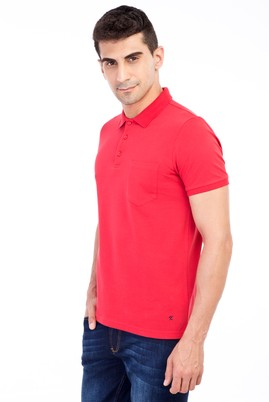 Erkek Giyim - Kırmızı XXL Beden Polo Yaka Klasik Regular Fit Tişört