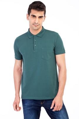 Erkek Giyim - KOYU YESİL M Beden Polo Yaka Klasik Regular Fit Tişört