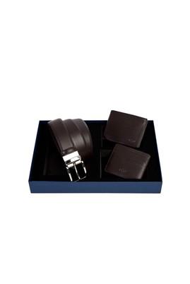Erkek Giyim - Kahve STD Beden 3'lü Kemer & Cüzdan & Kartlık Set
