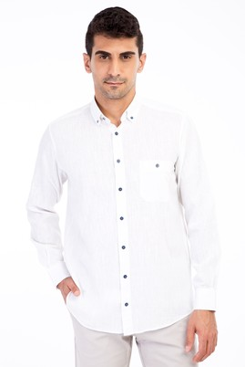 Erkek Giyim - Beyaz XXL Beden Uzun Kol Spor Gömlek