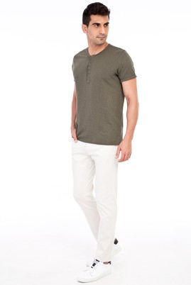 Erkek Giyim - Krem 50 Beden Slim Fit Desenli Spor Pantolon
