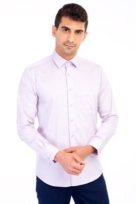 Erkek Giyim - Lila L Beden Uzun Kol Non Iron Saten Klasik Gömlek